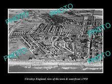 Old Large Historic Photo Of Cleveleys England, The Town & Waterfront c1950 1