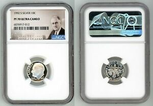 1992 S SILVER ROOSEVELT DIME 10C NGC PF 70 ULTRA CAMEO Q04
