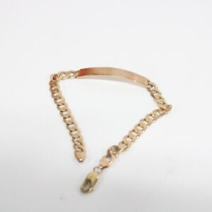 9ct Italian Gold Chain Bracelet with Plate #460
