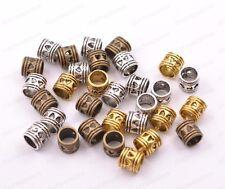 50/100Pcs Antique Tibetan Silver Big Hole Spacer Beads 5MM Hole JK3020