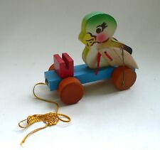Vintage Red China Wooden SQUEAKING DUCKLING Pull Along Toy 1960's