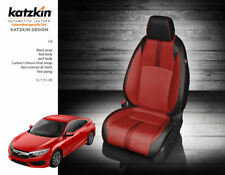KATZKIN BLACK & RED LEATHER INT SEAT COVERS FITS 2016-2019 HONDA CIVIC SEDAN LX
