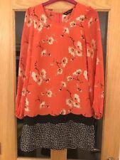 Miss Selfridge Size 8 Coral And Black Floral Patterned Long Sleeved  Dress