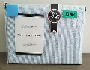 Tommy Hilfiger Blue White Oxford Stripe Flannel KING Sheet Set 4 pc