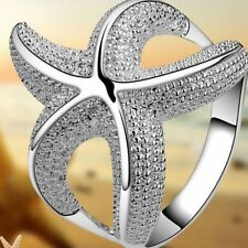 Wedding Girls Hollow Style Women Silver Plated Starfish Jewelry Ring Gift
