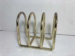 """Vintage Gold Tone Brass Desktop Letter Holder Card Organizer 4 Slot 4"""""""