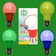 1x 4 Pack LED Coloured GLS A60 LED E27 Light Bulb Lamp, Red, Yellow, Green, Blue