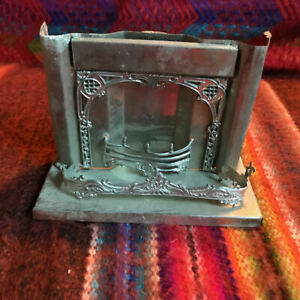 """Antique German Highly Detailed Metal Dollhouse Fireplace 4.5""""x3.75""""x2"""""""