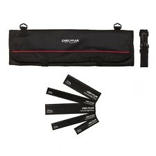 9 Pocket Chef Knife case roll bag (Black) w/ 5pc. Black edge guard Set Ergo Chef