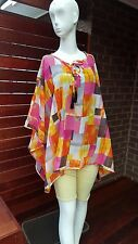Multi coloured Square Printed  Kaftan Tunic Beach Cover up Top