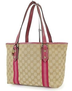 Authentic GUCCI Brown GG Canvas Pink Leather Small Tote Hand Bag Purse #40160