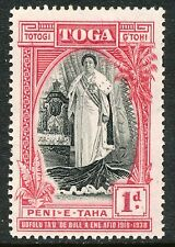 TONGA 1938 20 years government of Queen Salote 1 P carmine red/black M/M VARIETY