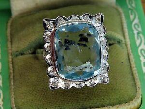 Vintage platinum ART DECO ANTIQUE AQUAMARINE DIAMOND FILIGREE ESTATE ring