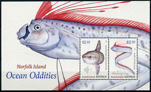 Norfolk Island Fish Stamps 2020 MNH Ocean Oddities Sunfish Oarfish Fishes 2v M/S
