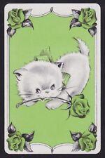 1 Single VINTAGE Swap/Playing Card CAT KITTEN GREEN BOW + ROSE FLOWERS