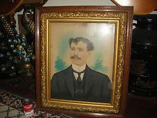 Antique Photograph Painting Portrait Distinguished Man W/Large Moustache-Framed