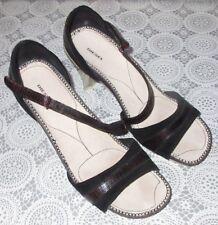 Women's Size 7  7.5 DIESEL Black Leather Pinstripe Peep Toe Heel Strappy Sandals