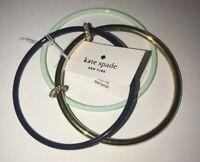 Kate Spade New York 3 Gold~Black~Soft Green Bangle Bracelets Crystals Retail $78