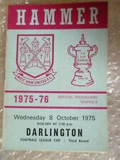 1975 WEST HAM UNITED v DARLINGTON, 8 Oct (League Cup 3rd R)