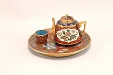 Vintage Cloisonne Miniature Teapot, Cup And Serving Tray
