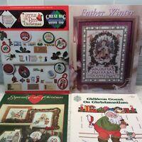 Christmas Cross Stitch Lot Of 4 Children Count Teresa Wentzler Anthony Taylor