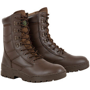 Highlander Delta Boots Military Style Leather Upper Brown Size UK 7-13