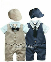 Baby clothes baby boys bodysuit & hat baby party wedding suit baby photo props