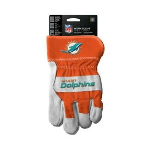 Miami Dolphins Work Style Leather Gloves [NEW] NFL Adult Warm Cotton Grip