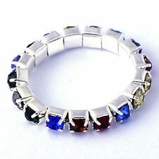 ring adjustable Eastic band Multicolor CZ Ring White Gold Filled