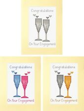 Congratulations on Your Engagement, Glasses Cross Stitch A5 Card Kit, 14 Count