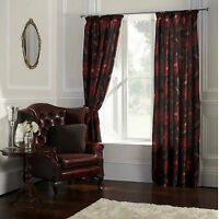 Tatton Red 66 X 90 Pencil Pleat Lined Ready Made Curtains Floral Chocolate