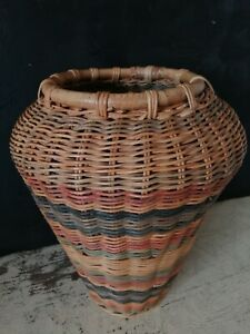 Vintage Wicker + Bamboo Multi Colour Striped Vase Basket 37cm high