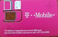 NEW T-Mobile 4G LTE Sim Card Tmobile 3 IN 1 TRIPLE CUT. Nano, Micro or Standard