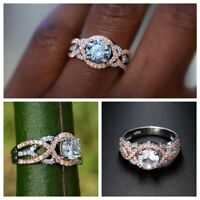 New Wedding Gorgeous Wedding 14K Two Tones Accross Band Ring Jewelry