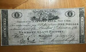 1814 $1 VERMONT GLASS FACTORY FARMERS BANK TROY NY SCARCE OBSOLETE NOTE