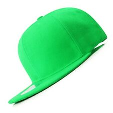 New Lime Green FLAT Peak SNAPBACK Plain Blank Cap Dancer Hat Chapeau #flat #cap