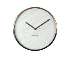 Karlsson: White Marble Effect Wall Clock with Copper and Black Chrome Rim