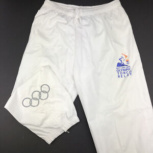 Salt Lake 2002 Olympic Torch Relay Track Pants White Size XL By Marker