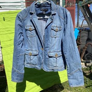 Vtg NEW YORK & CO Jean SPRING Jacket Coat  GREAT SHAPE Buttons Fitted Size 10