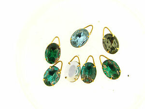 Vintage Gold Plate Large Austrian Crystal Bi Color Mix Faceted Oval Pendants