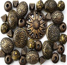35 x Large Antique Bronze Acrylic Tibetan Jewellery Making Beads Mix