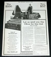 1919 OLD MAGAZINE PRINT AD, OLIVER NO. 9 TYPEWRITERS, SEND YOU ONE, FREE TRIAL!