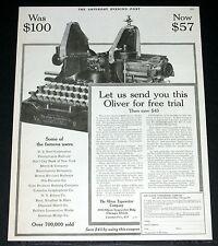 1919 alte Zeitschrift Printanzeige, Oliver Nr. 9 Schreibmaschinen, senden Sie eine Testversion!