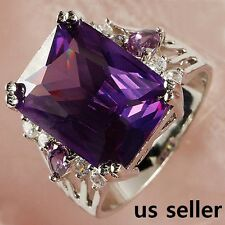 Purple Amethyst & Topaz Stone Solitaire with Accents Silver Lady's Ring Size 8