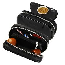 Free trip Leather pipe tobacco pouch/smoking pipe accessories bag holder 2 pipe