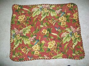 WAVERLY 100% COTTON STANDARD PILLOW SHAMS FLORAL w ROPE EDGING