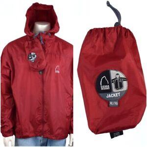 Sierra Designs Jacket Windbreaker Rain with Packable Pouch Mens XL Red Nylon GUC