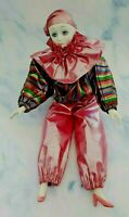 Vintage Porcelain Sad Girl CLOWN DOLL Pierrot Style Pink Multi-Color Outfit