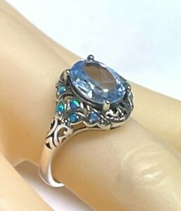 Ring Aquamarine & Opal Synth. 925er Silver Antique Style #54