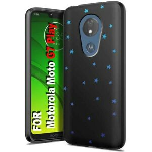 Thin Protective Gel Phone Case for Motorola G7 Play or Power,Star Blue Print